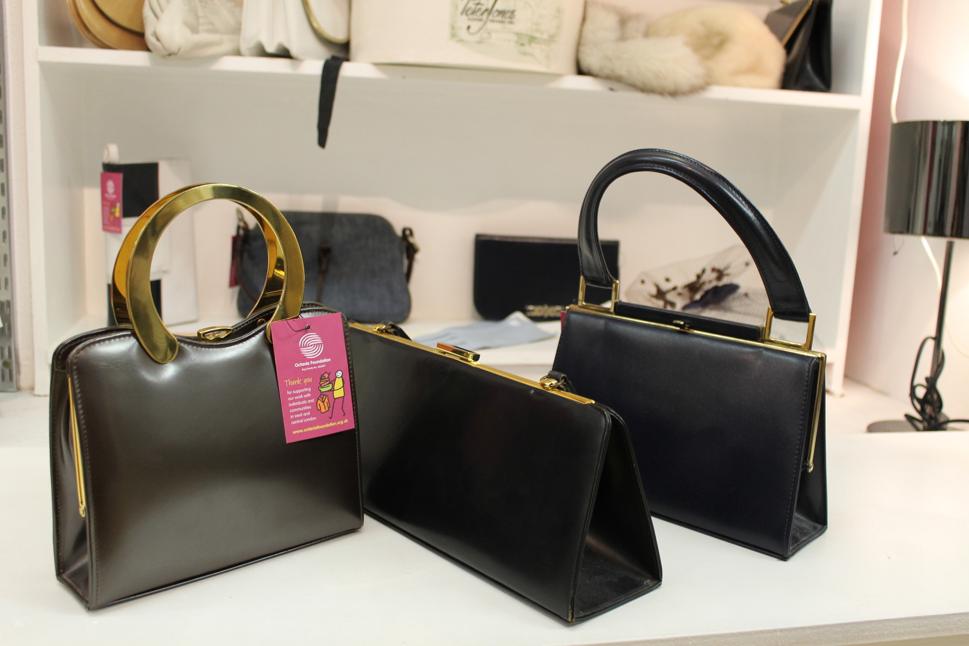 Collection of chic vintage leather handbags from   35 at Brompton Road