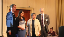 Catherine Andrews Volunteer Coordinator accepted the Sir Simon Milton award on behalf of Andrew Lockhart who won for supporting older people as a volunteer befriender