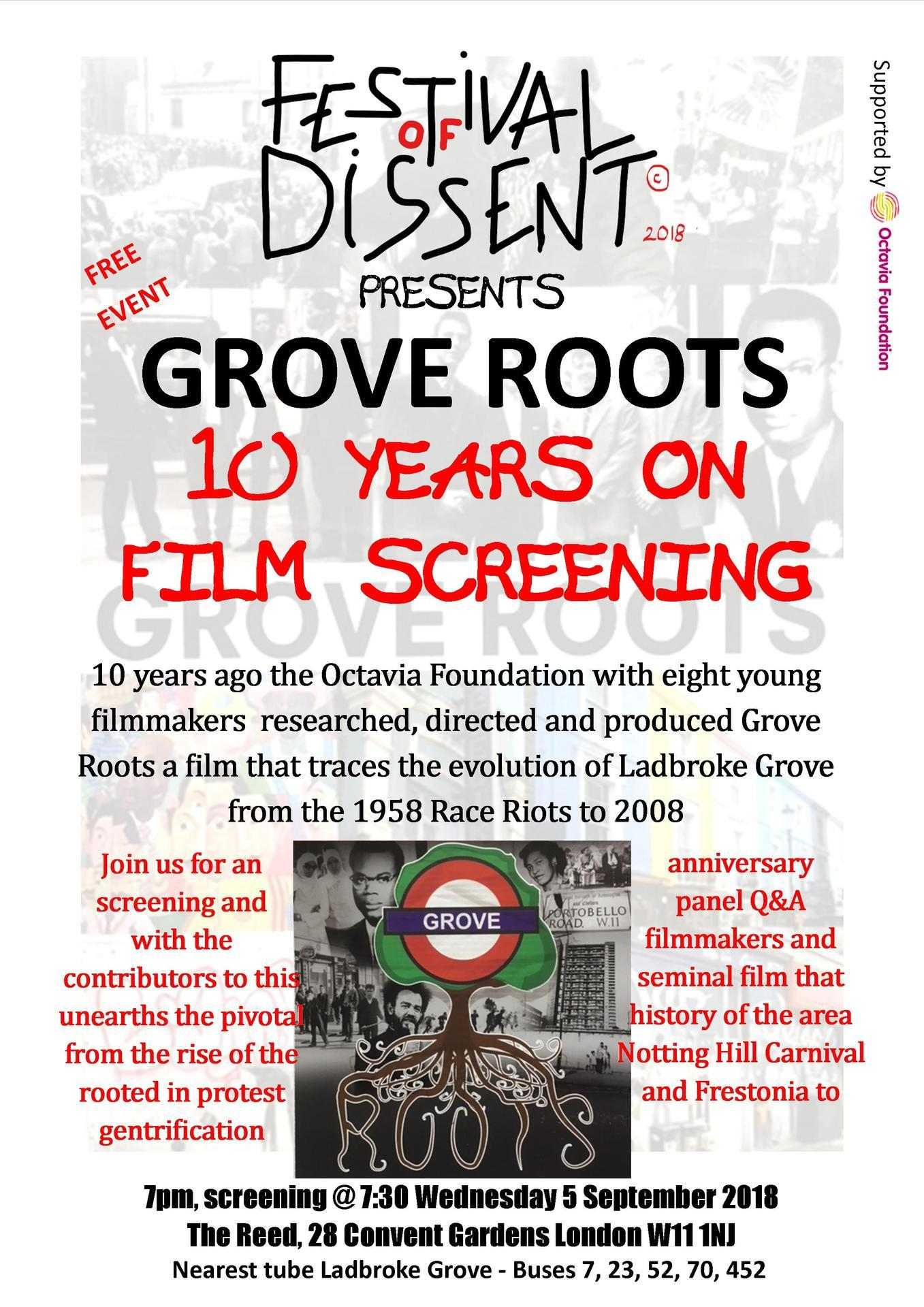 GROVE ROOTS 10 YEARS ON Screening   5 September 2018  IA